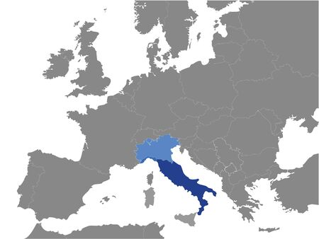 Detailed Blue Flat Political Map of Apennine (Italian) Peninsula on Grey Background of European Continent