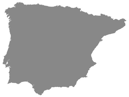 Detailed Grey Flat Geographical Map of Iberian Peninsula
