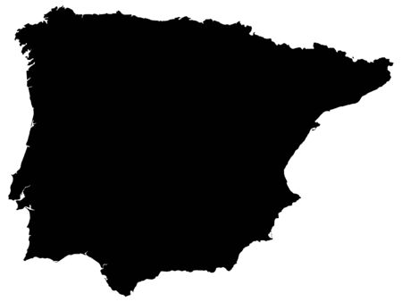 Detailed Black Flat Geographical Map of Iberian Peninsula