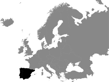 Detailed Black Flat Political Map of Iberian Peninsula on Grey Background of European Continent