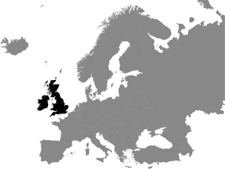 Detailed Black Flat Political Map of the British Isles (the United Kingdom, the Isle of Man, the Republic of Ireland) on Grey Background of European Continent
