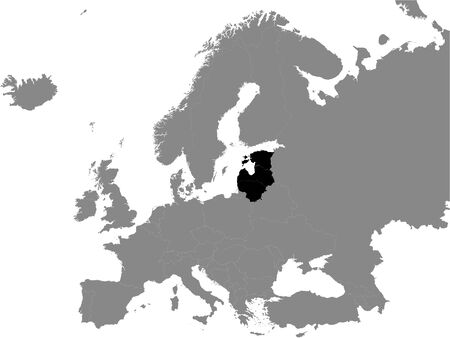 Detailed Black Flat Political Map of Baltic States (Estonia, Latvia, Lithuania) on Grey Background of European Continent