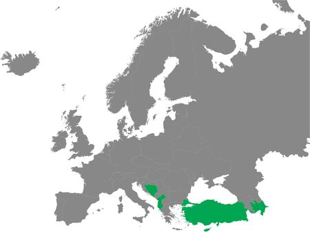Detailed Green Flat Political Map of Map of Muslim Majority European Countries on Grey Background of European Continent Illustration