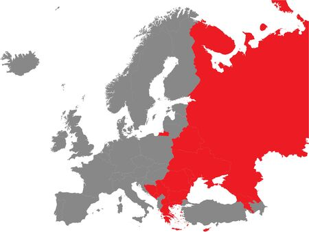Detailed Red Flat Political Map of Map of Eastern Orthodoxy Majority European Countries on Grey Background of European Continent