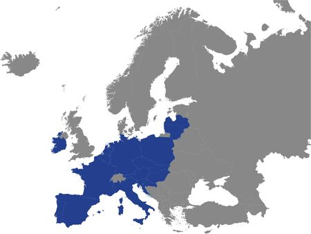 Detailed Blue Flat Political Map of Map of Catholic Majority European Countries on Grey Background of European Continent