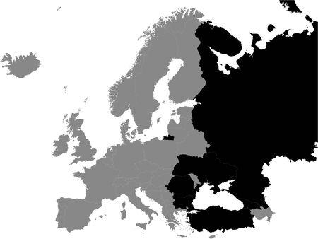 Detailed Black Flat Political Map of Black Sea Region (Georgia, Turkey, Bulgaria, Romania, Ukraine, Russia) on Grey Background of European Continent