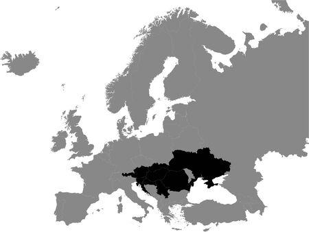 Detailed Black Flat Political Map of Pannonian Countries (Hungary, Romania, Serbia, Croatia, Slovenia, Slovakia, Austria, Ukraine) on Grey Background of European Continent Ilustracja