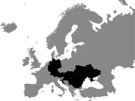 Detailed Black Flat Political Map of Danubian Countries (Austria, Bulgaria, Croatia, Germany, Hungary, Moldova, Romania, Serbia, Slovakia, Ukraine) on Grey Background of European Continent
