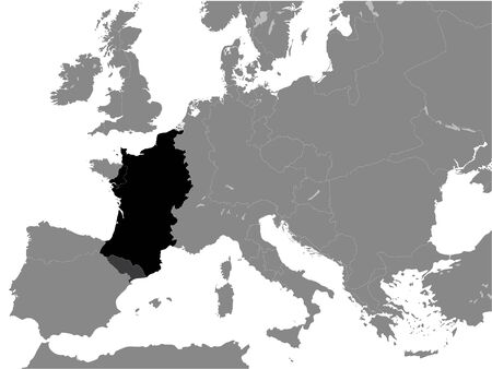 Black Flat Map of West Francia (year 843) inside Gray Map of Europe