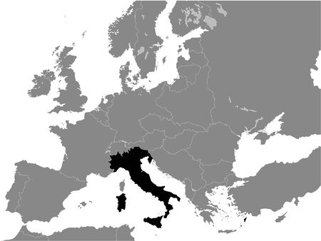 Black Flat Map of Kingdom of Italy (year 1936) inside Gray Map of European Continent Ilustrace