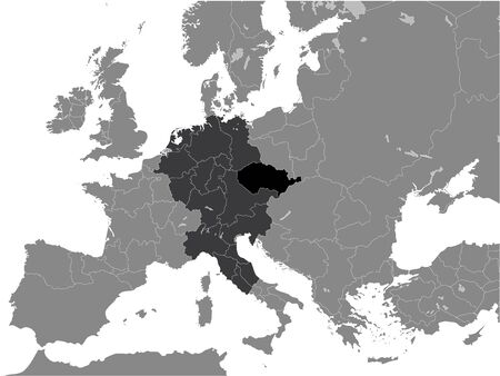 Black Flat Map of Duchy of Bohemia within the Holy Roman Empire (11th century) inside Gray Map of European Continent