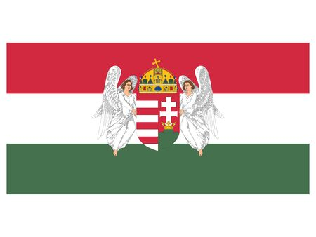 Vector Illustration of the Flag of the Kingdom of Hungary (19th century)
