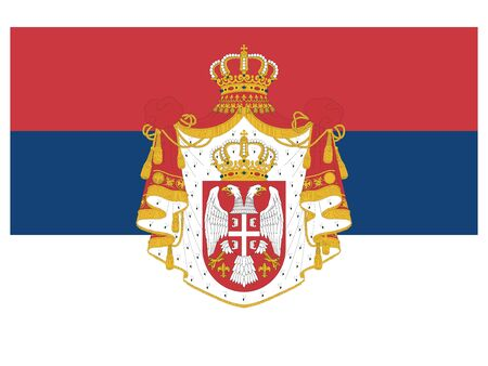 Vector Illustration of the State Flag of Kingdom of Serbia (year 1882-1918) Vetores