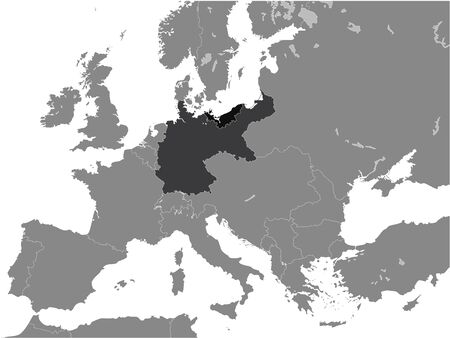 Black Flat Map of Province of Pomerania (year 1914) within the German Empire inside Gray Map of European Continent Vetores