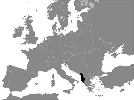 Black Flat Map of Albanian Kingdom (year 1935) inside Gray Map of European Continent Vetores
