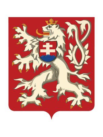 Vector Illustration of the Lesser coat of arms of Czechoslovak Socialist Republic - Czechoslovakia (year 1920-1960)