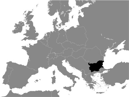 Black Flat Map of People's Republic of Bulgaria (year 1946-1990) inside Gray Map of European Continent