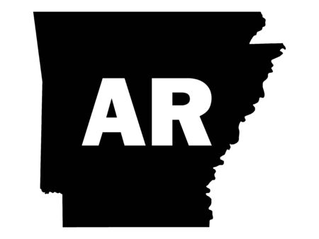 Black and White Silhouette Map of the US Federal State of Arkansas with it's Postal Code Abbreviation