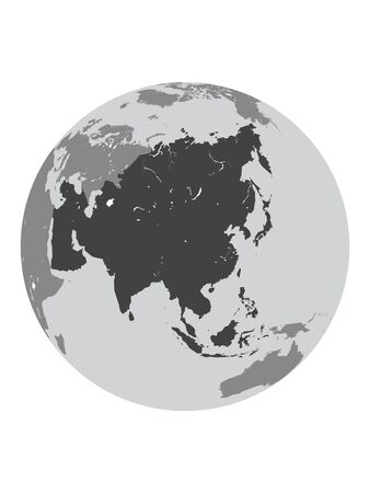 Orthographic Projection of the Globe with Asian Continent