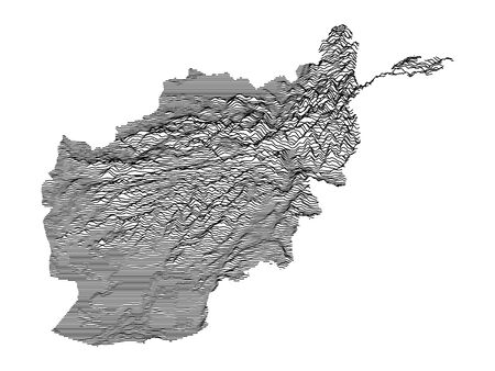 Gray 3D Topography Map of Asian Country of Afghanistan