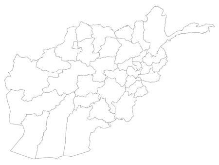 White Provinces Map of Asian Country of Afghanistan Illustration