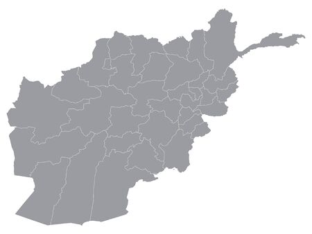 Gray Provinces Map of Asian Country of Afghanistan