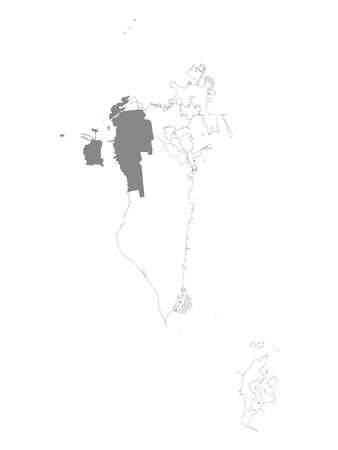 Grey Location Map of Bahraini Northern Governorate within White Map of Bahrain Illustration