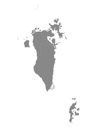 Gray Governorates Map of Asian Country of Bahrain