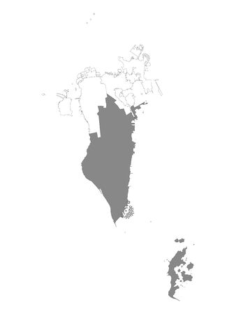 Grey Location Map of Bahraini Southern Governorate within White Map of Bahrain Illustration