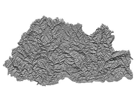 Gray 3D Topography Map of Asian Country of Bhutan