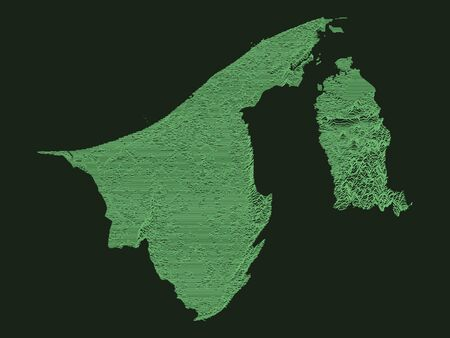 Tactical Military Emerald 3D Topography Map of Asian Country of Brunei 矢量图像