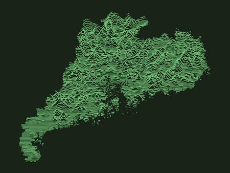 Green Tactical Military Style 3D Topographic Map of Chinese Province of Guangdong