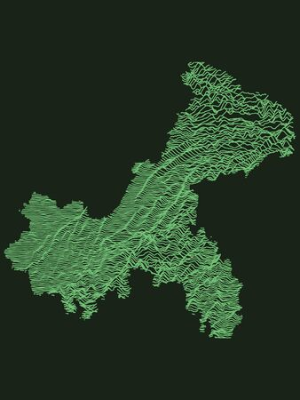Green Tactical Military Style 3D Topographic Map of Municipality of Chongqing