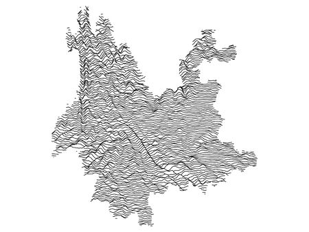 Grey Topographic 3D Map of Chinese Province of Yunnan