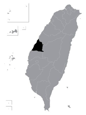Black Location Map of Taiwanese County of Changhua within Grey Map of Taiwan (ROC - Republic of China)