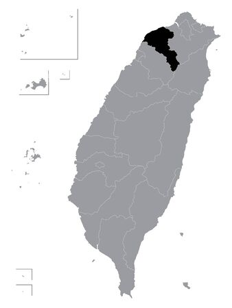 Black Location Map of Taiwanese Special Municipality of Taoyuan within Grey Map of Taiwan (ROC - Republic of China)