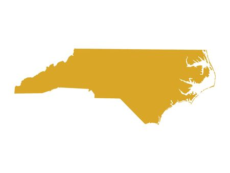 Golden Map of US Federal State of North Carolina (Old North State)