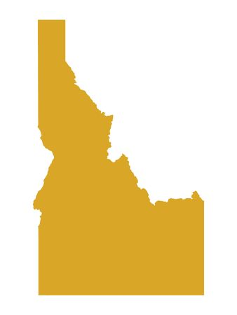 Golden Map of US Federal State of Idaho (The Gem State)