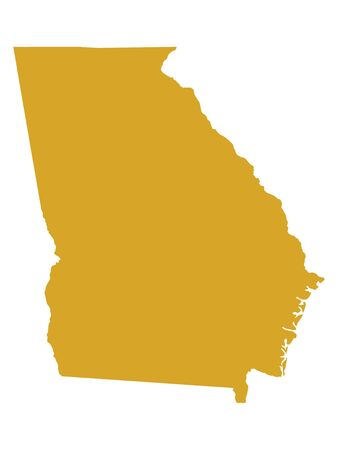 Golden Map of US Federal State of Georgia (The Peach State)
