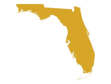 Golden Map of US Federal State of Florida (The Sunshine State)  イラスト・ベクター素材