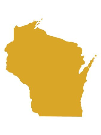 Golden Map of US Federal State of Wisconsin (The Badger State)