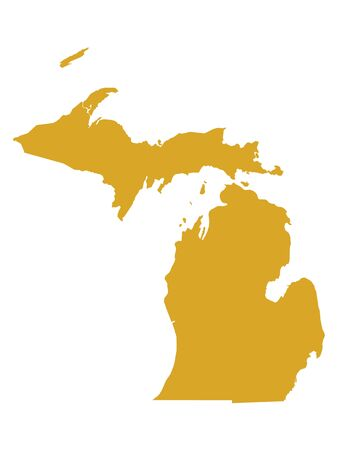 Golden Map of US Federal State of Michigan (The Great Lake State)