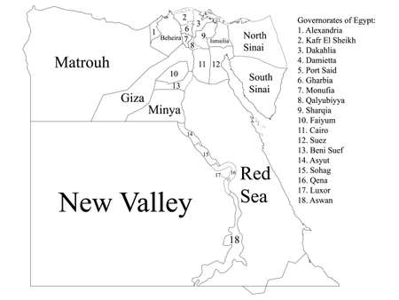 White Labeled Governorates Map of Transcontinental Country of Egypt