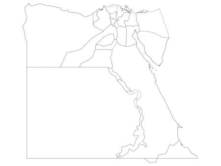 White Governorates Map of Transcontinental Country of Egypt Çizim