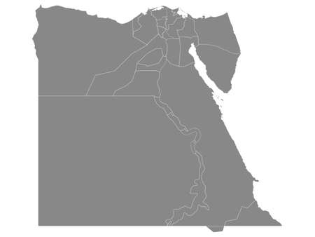 Grey Governorates Map of Transcontinental Country of Egypt Çizim