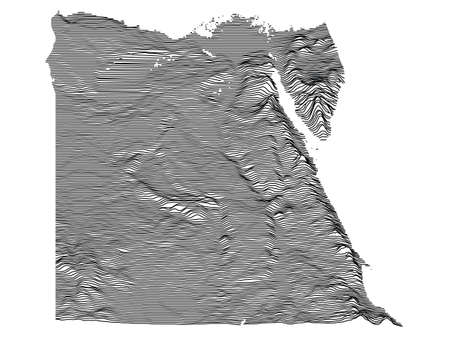 Gray 3D Topography Map of Transcontinental Country of Egypt