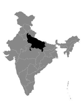 Black Location Map of Indian State of Uttar Pradesh within Grey Map of India