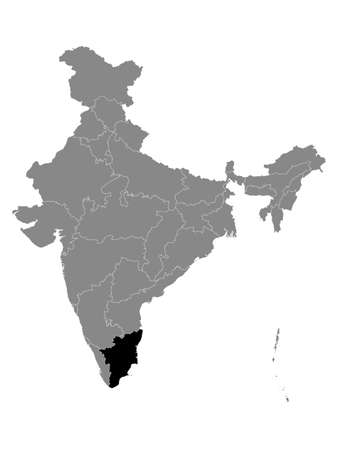 Black Location Map of Indian State of Tamil Nadu within Grey Map of India Çizim