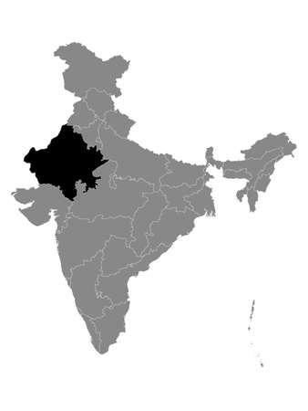 Black Location Map of Indian State of Rajasthan within Grey Map of India