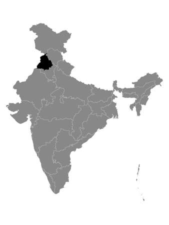Black Location Map of Indian State of Punjab within Grey Map of India